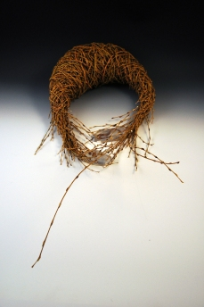 """Sterling silver, willow branches, natural found objects, and resin 2013 24″ x 12″ x 6"""""""